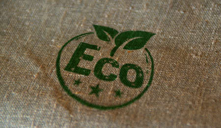 Eco friendly stamp printed on linen sack. Ecology, environment and climate concept. Stok Fotoğraf