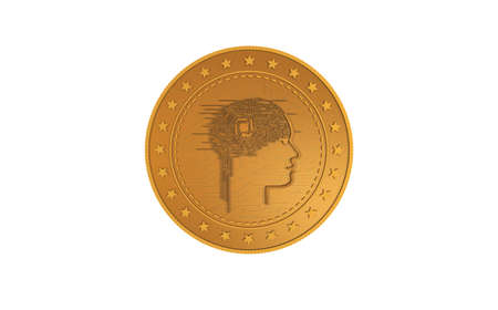 Artificial intelligence AI symbol isolated gold coin on green screen background. Abstract concept illustration.