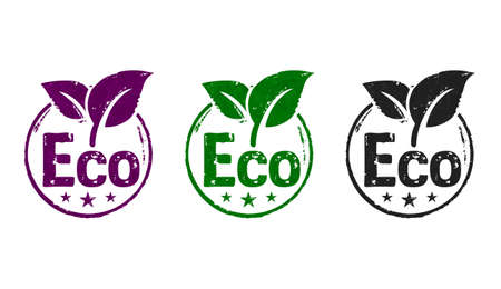Eco friendly stamp icons in few color versions. Ecology, environment and climate concept 3D rendering illustration. Stok Fotoğraf