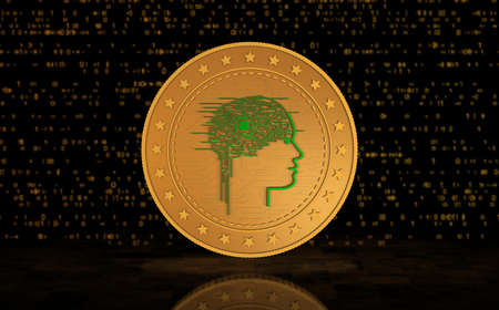 Artificial intelligence AI symbol gold coin on green screen background. Abstract concept 3d illustration. Stok Fotoğraf