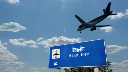 Airplane silhouette landing in Bangalore, India. City arrival with international airport direction signboard and blue sky. Travel, trip and transport concept 3d illustration.