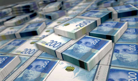 Israeli shekel money pack 3d illustration. 200 NIS banknote bundle stacks. Concept of finance, cash, economy crisis, business success, recession, bank, tax and debt in Israel.
