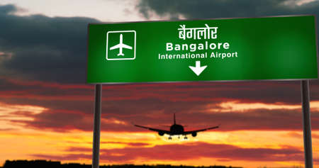 Airplane silhouette landing in Bangalore, India. City arrival with airport direction signboard and sunset in background. Trip and transportation concept 3d illustration.