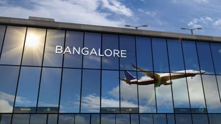 Aircraft landing at Bangalore, India 3D rendering illustration. Arrival in the city with the glass airport terminal and reflection of jet plane. Travel, business, tourism and transport. Stok Fotoğraf