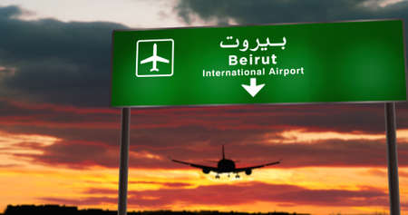 Airplane silhouette landing in Beirut, Lebanon. City arrival with airport direction signboard and sunset in background. Trip and transportation concept 3d illustration. Stok Fotoğraf