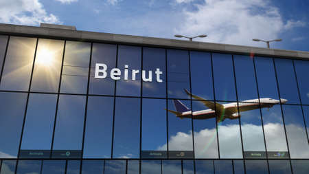 Aircraft landing at Beirut, Lebanon 3D rendering illustration. Arrival in the city with the glass airport terminal and reflection of jet plane. Travel, business, tourism and transport.