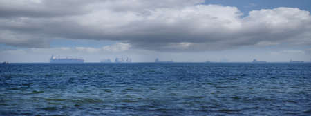 Ships in the roadstead. International trade and maritime cargo transport of goods. Stok Fotoğraf