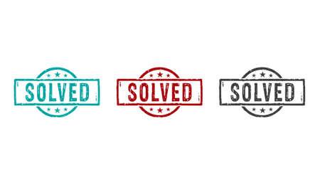 Solved stamp icons in few color versions. Problem solution concept 3D rendering illustration.