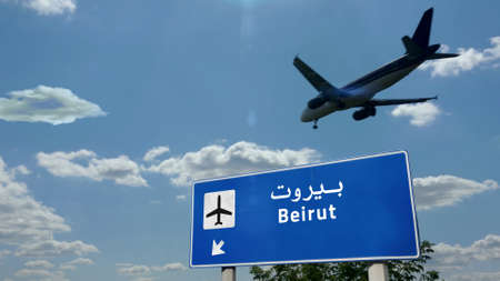 Airplane silhouette landing in Beirut, Lebanon. City arrival with international airport direction signboard and blue sky. Travel, trip and transport concept 3d illustration.