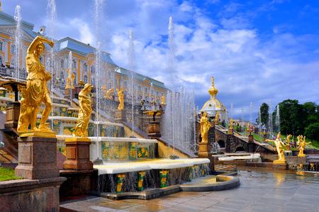 peterhof: Peterhof. Russia. Peterhof. The sculptures of the Grand cascade fountains