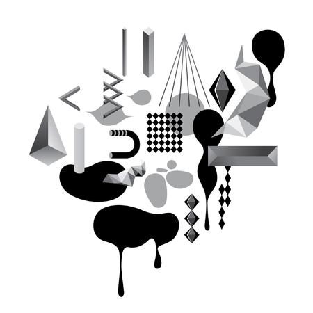 Abstract grijstinten geometrische objecten Stock Illustratie