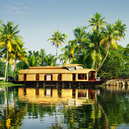 allepey: houseboat Stock Photo