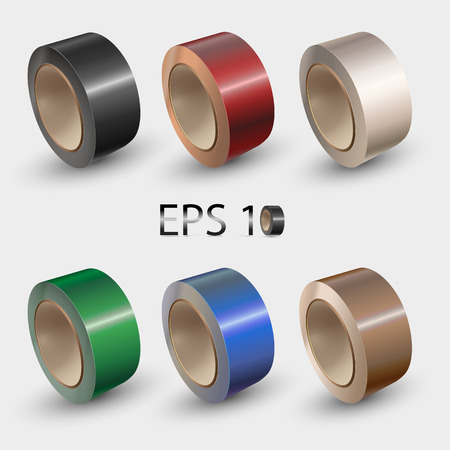 masking tape: Adhesive tape on roll colorful red blue black white green gray