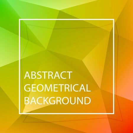 Vector abstract polygonal background. Red, yellow, green