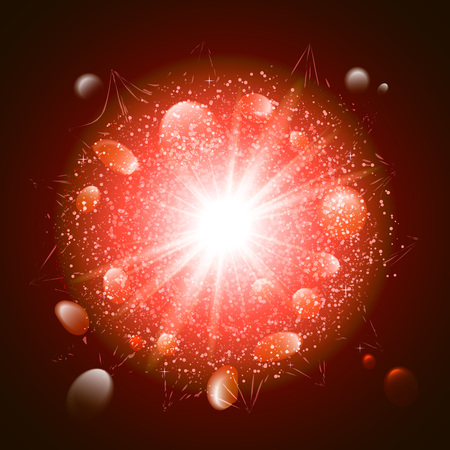 Abstract red explosion in space vector