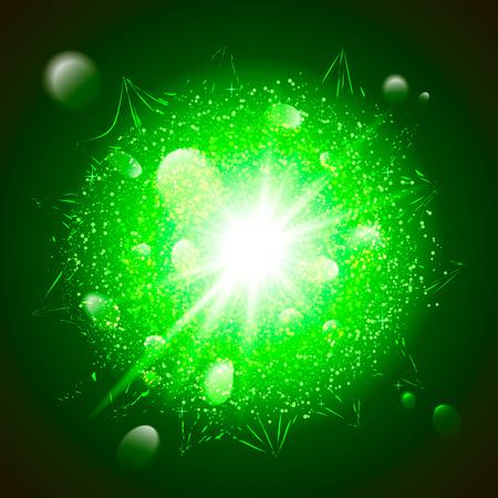 Green luxury dust vector firework explosion Stock Illustratie