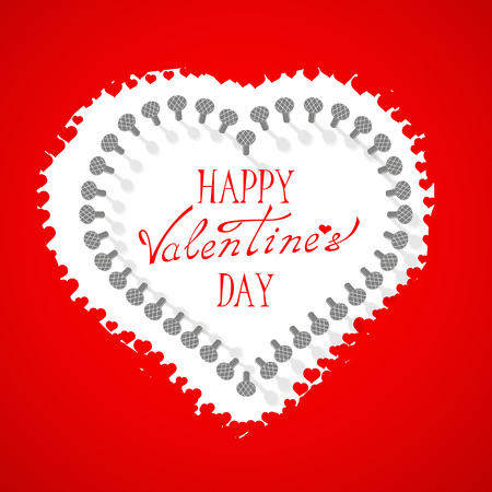 St. Valentine's Day. Vector. Beautiful volumetric red heart on a white background. Heart on a string. Background to the day of St. Valentina.