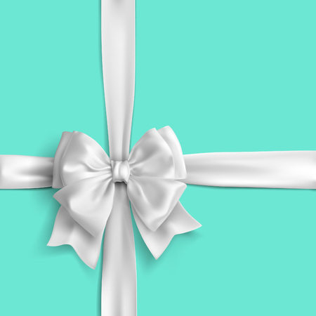 Ribbon in white colour. Vector illustration. Stock Illustratie