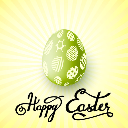 Cute and simple greeting card for Easter. Happy easter lettering. Vector illustration. Blue version