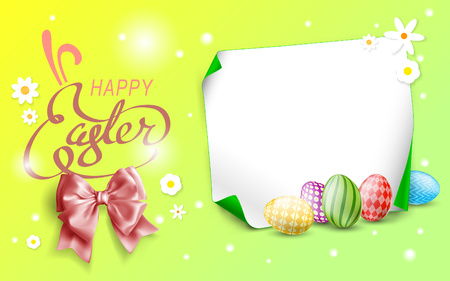 Easter background with Happy easter text. Decorative Ester borders from Easter eggs and floral elements. Easter eggs with ornaments in peach and grass colors.