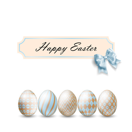 Easter eggs isolated on white. Decorative Ester borders from Easter eggs.