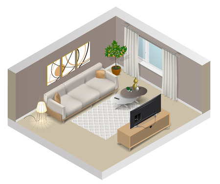 Interior of a living room with window, sofa, tv, orange tree, floor lamp, coffee table, curtains, carpet and paintings on the wall.. Modern design, vector illustration.