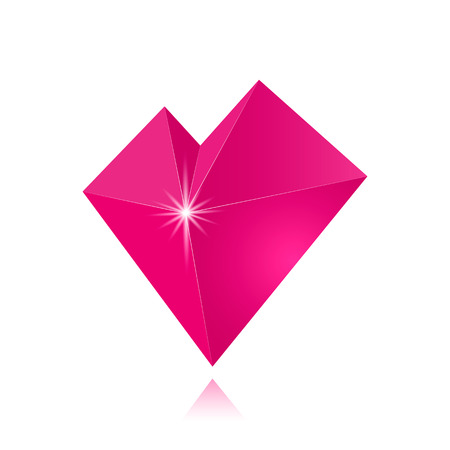 A beautiful glass heart of pink color in low-poly style and sharp edges. Vector illustration with shadow.