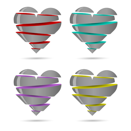 Silvery heart from several multi-colored parts, isolated. Vector illustration. Easy to change color