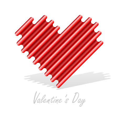 Stylized Red heart abstract isolated on a white backgrounds. Valentine