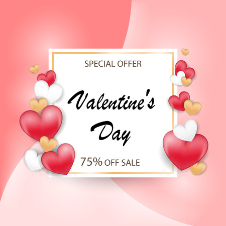 Valentines day special offer background with balloons heart and icon set pattern. Vector illustration. Wallpaper, flyers, invitation, posters, brochure, banners.
