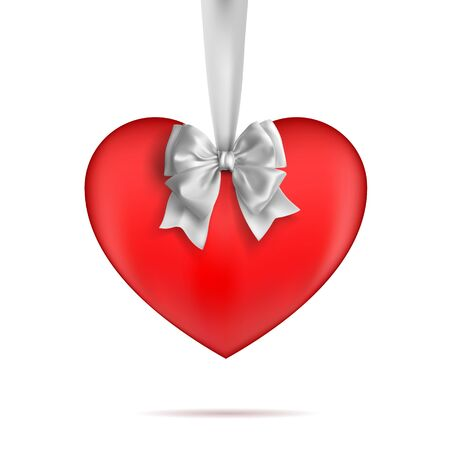 Red heart hanging on a white ribbon with a bow. Decorative design elements. Vetcor on a white background.