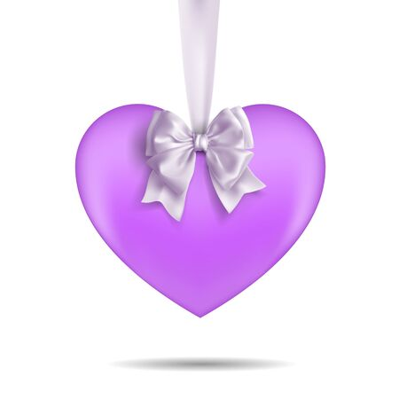 Purple heart hanging on a white ribbon with a bow. Decorative design elements. Vetcor on a white background. Stock Illustratie