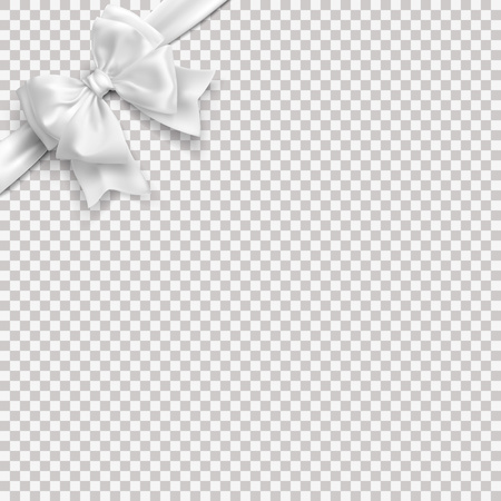 Realistic white bow with ribbon. Vector without background. Stock Illustratie