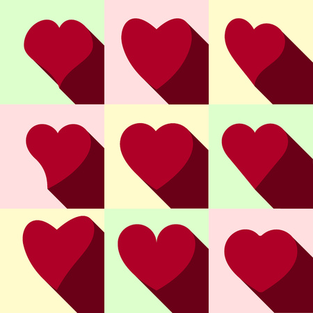 Set of red hearts icons. Vector illustration.