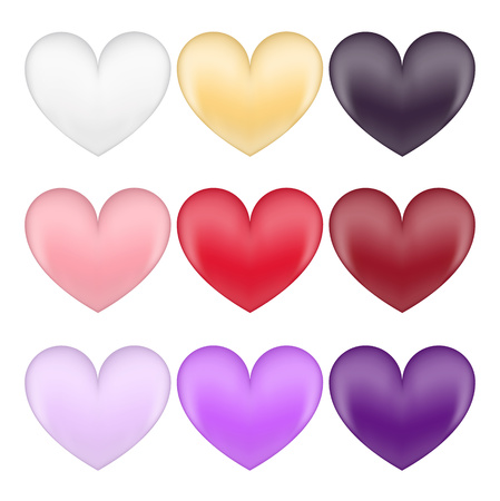 Nine of hearts of different colors. Set vector