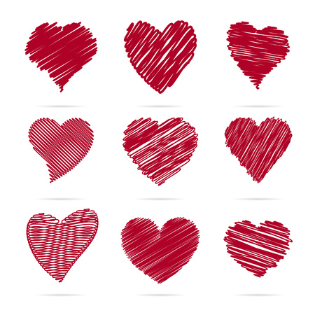 Set of hearts. Hearts of lines and strokes. Stock Illustratie