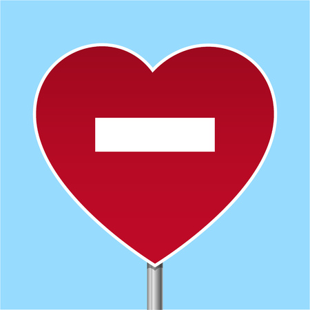 Red heart with a stop signal Vector illustration.