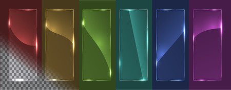 Transparent glass panels with different glare. On a multicolored background. Vector illustration, eps 10.