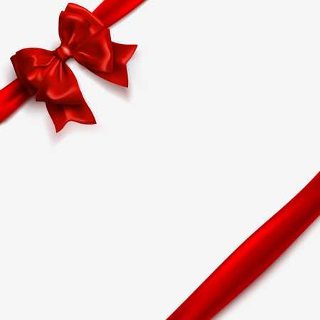 Bow and red satin ribbon isolated on white background. Vector silk tape, decor wrap element. Vector bow template for Christmas, New Year, Happy Valentines Day greeting card design. Vettoriali