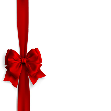 Bow and red satin ribbon isolated on white background. design. Illustration
