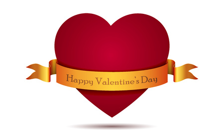 Heart from paper Valentines day card vector background on white. Eps 10
