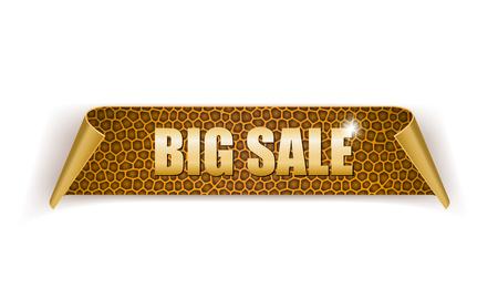 Big sale, gold, leather label. Vector illustration Stock Illustratie