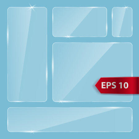 Glass panels with rounded corners. Vector transparent glass design elements for game and web. Glass surface background