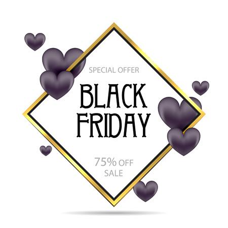Black Friday, Big Sale, black air balloon, creative template on flat design