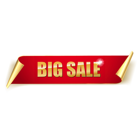 Sale banner. Realistic red gold Glossy paper ribbon. On white background.