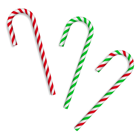 Christmas candy canes on white background. Vector illustration.