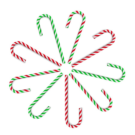 Christmas candy canes. Red and green on white background. Vector illustration. Stock Illustratie