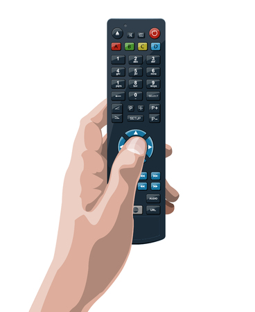 Tv remote control in hand. Vector illustration.