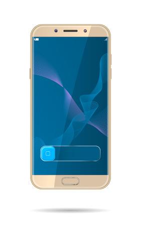 Gold smartphone mock-up. Vector realistic illustration. Stock Illustratie