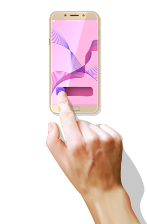 Close up hand hold phone isolated on white, mock-up smartphone.Realistic style. Vector.